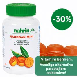 Narosan Mini, dabīgas multivitamīnu konfektes ar apelsīnu garšu, nodrošina vitamīnu dienas devu. 80gab/160g