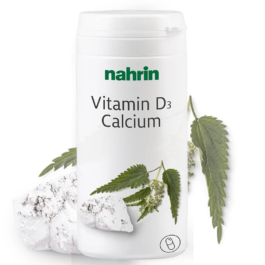 Vitamīns D3 + Kalcijs ar nātru ekstraktu un folskābi, pa 625mg, 60kapsulas/37,8g