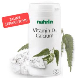 Vitamīns D3 + Kalcijs ar nātru ekstraktu un folskābi, 60 kapsulas pa 625mg/37,8g