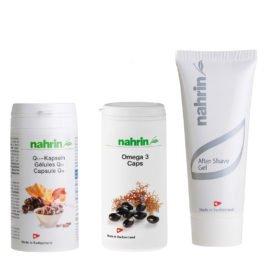 Подарок мужчине. Омега-3 и Q10 для здоровья и натуральный гель после бритья.